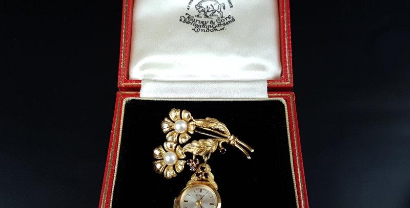 Rotary 9Ct Gold Watch Brooch Pearl Garnet Flower by Sylvain Dreyfus London 1965
