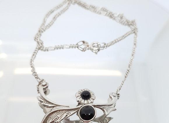 Art Nouveau Style Onyx Sterling Silver Flower Arrow Necklace
