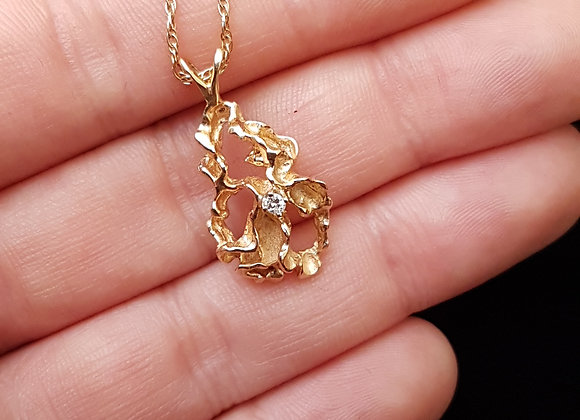 Modernist Style 14K 14 Carat Gold Freeform Abstract Gold Nugget Diamond Pendant