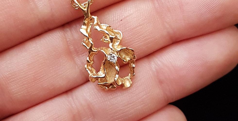Modernist Style 14K 14 Carat Gold Freeform Abstract Gold Nugget Diamond Pendant