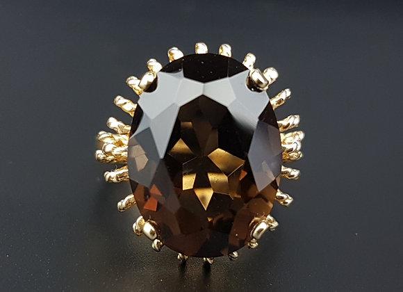 Vintage 9ct Gold Smoky  Basket Dress Ring Fancy Ring not 18ct , London 1975 FM