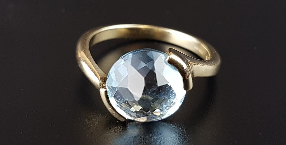 Vintage Scandinavian Style Blue Topaz 9 Ct 9K Gold Modernist Ring Hallmarked