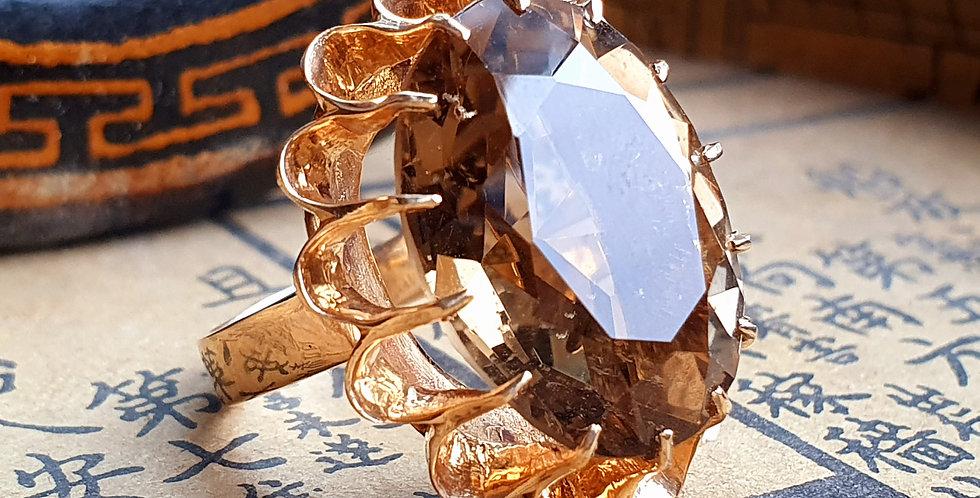 Vintage 9ct Gold Light Smoky Quartz Ring Modernist Dress Ring Smokey Quartz Gold