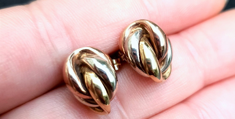 Vintage 9ct 3 Colour Yellow White Rose Gold Knot Earrings
