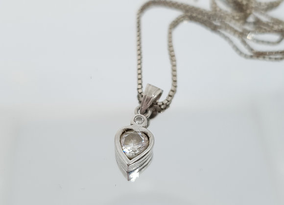 Italian Second Hand Cubic Zirconia Sterling Silver Heart Necklace Charm Pendant