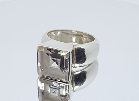 Size : P Designer Second Hand Cubic Zirconia Sterling Silver Chunky Ring