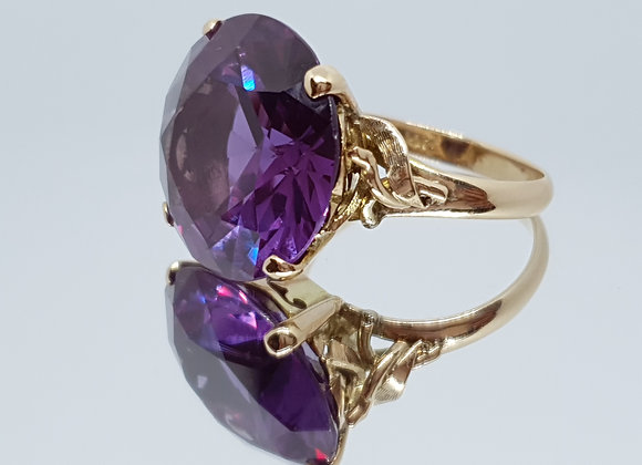 14k 14ct Gold Vintage Synthetic Alexandrite Size M Ring