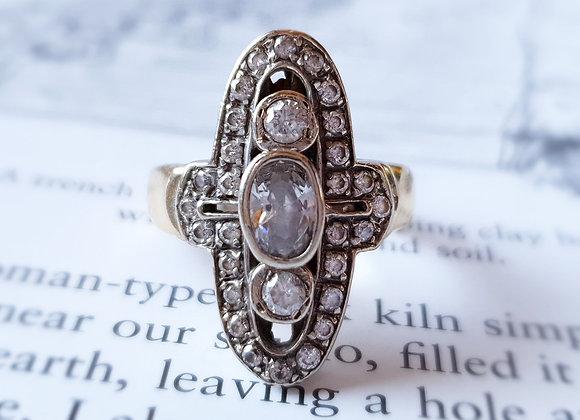 Art Deco Style 9ct Gold  Dress Fancy Ring , Sheffield Import 2.3 cm Face