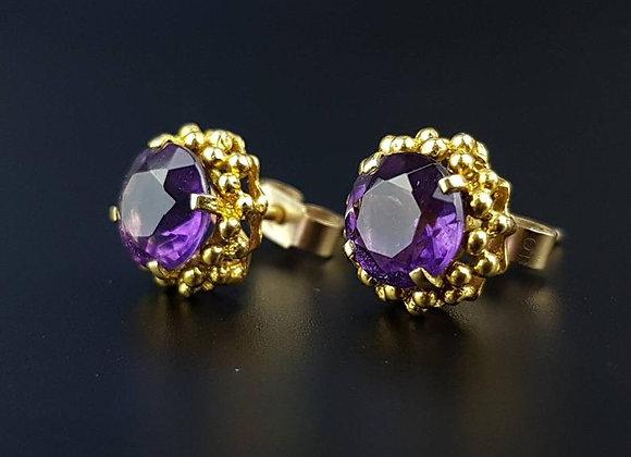 Modernist 9ct Gold Amethyst Earrings 1960
