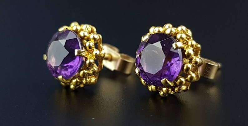 Modernist 9ct Gold Amethyst Earrings 1960