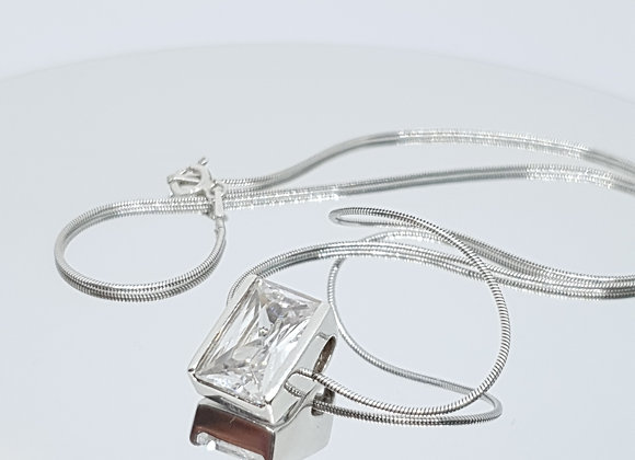 Designer Second-Hand Sterling Silver Cubic Zirconia Pendant  Necklace
