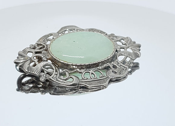 Victorian Vintage Jade (looking) Natural Stone Sterling Silver Pendant Necklace