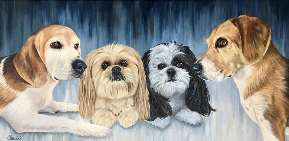 Pet Portrait of Smokey, Noodle, Munchie, Bandit