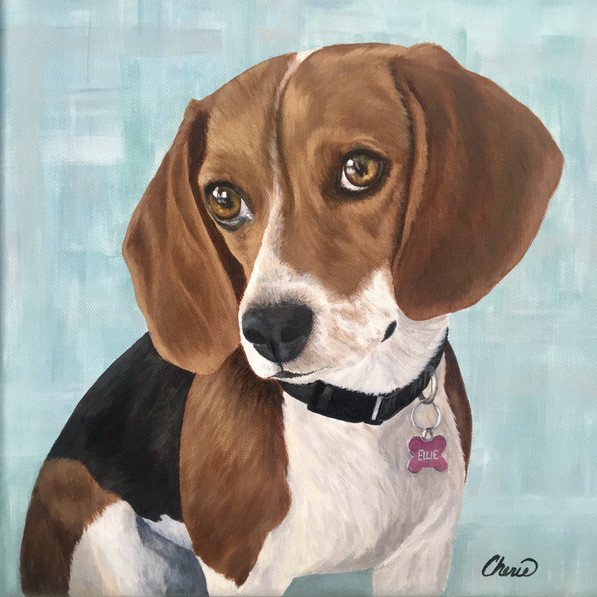 """Ellie"" Custom Pet Portraits - Beagle Original Painting - Gift for Dog Lover - Cherie Dimsey"