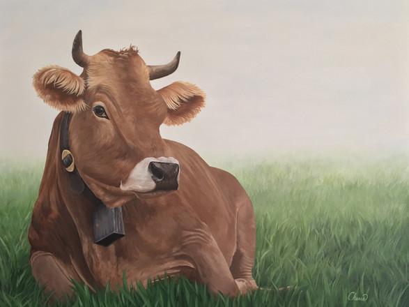 """Sunshine"" Cow Painting Original, Farmhouse Decor Wall Art 24x30"