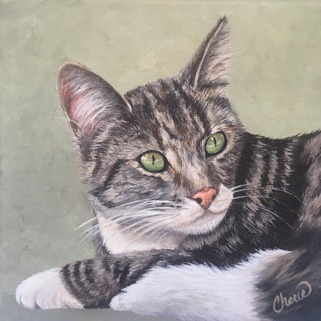 """Windowsill"" Pet Portrait Painting - Cat Original Painting - Custom Art - Tabby kitten, Animal Artist - Gift -Cherie Dimsey"
