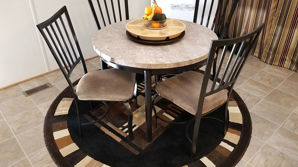 Round Marble Table w/ 4 Chairs