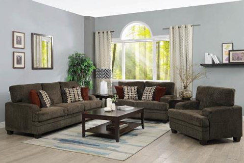 Stewart 3-Piece Living Room Set Brown
