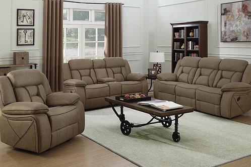 Higgins Pillow Top Arm Upholstered Motion Sofa Tan