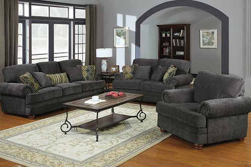 Colton Rolled Arm Upholstered Sofa Smokey Grey