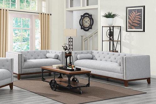 Celle 2-Piece Tufted Back Living Room Set Light Grey