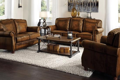 Montbrook Rolled Arm Sofa Hand Rubbed Brown