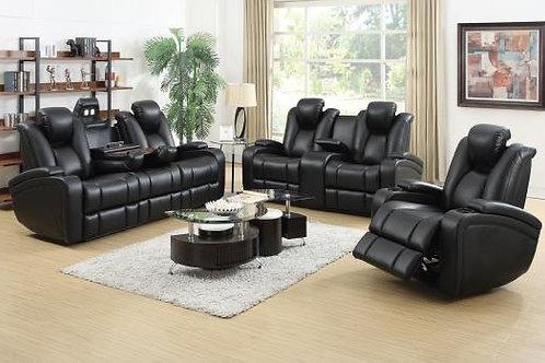 Delange Power 2 Sofa With Headrests Black
