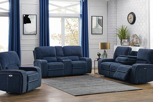 Dundee 2-Piece Power^2 Living Room Set Navy Blue