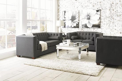 Cairns Tuxedo Arm Tufted Sofa Charcoal