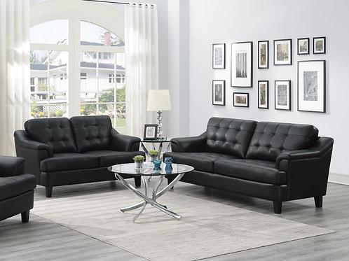 Freeport Sofa Tufted Back Living Room Set Black