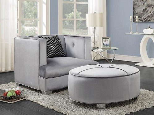 Caldwell Recessed Arm Upholstered Chair Silver