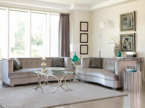 Caldwell Recessed Arm Upholstered Loveseat Silver