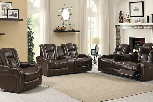Delangelo Power^2 Sofa With Drop-Down Table Brown