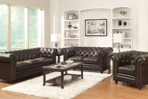 Roy Rolled Arm Tufted Sofa Brown