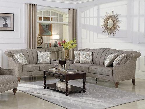 Lakeland 3-Piece Rolled Arm Living Room Set Brown