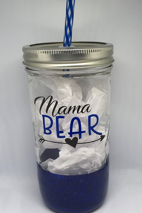 24oz Stainless Mason Jar Tumbler Mama Bear
