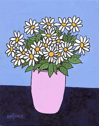 Daisies in a Pink Vase