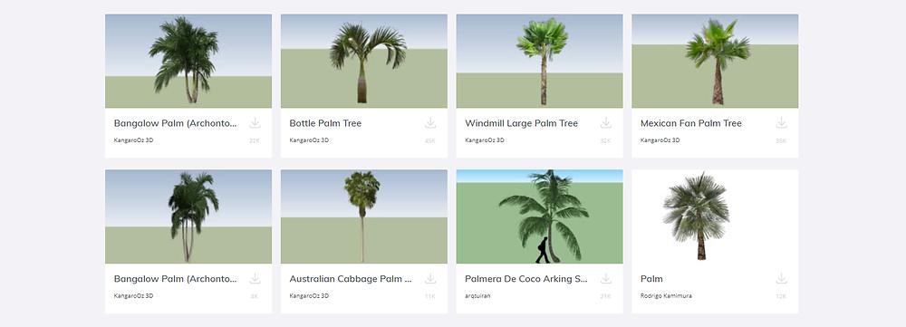 Coleção de palmeiras no 3D warehouse