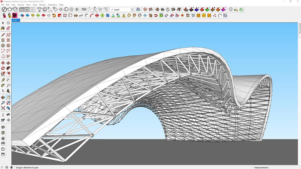 Estrutura metálica modelada no SketchUp