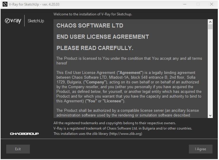 Janela com os termos de licença do usuário.