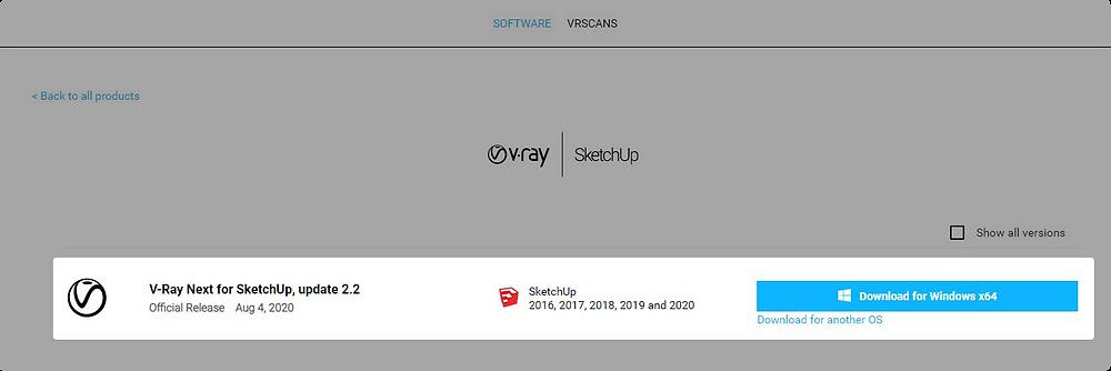 Opção de baixar o V-Ray para SketchUp para Windows x64.