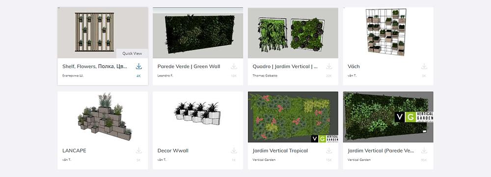 Coleção de muros-verde no 3D warehouse