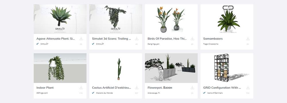 Coleção de paisagismo no 3D warehouse