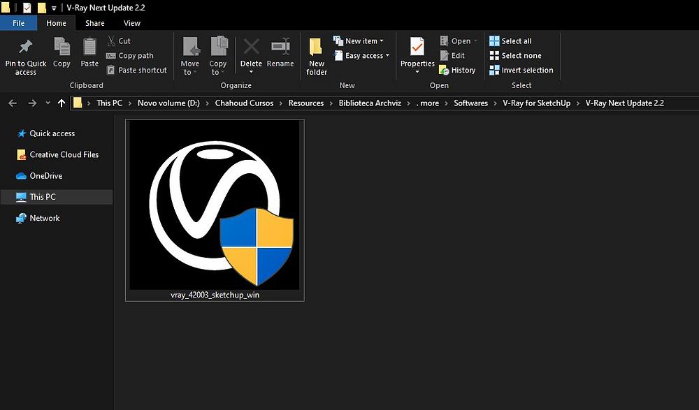 Arquivo executável do V-Ray para SketchUp.