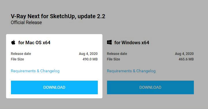 Opção de baixar o V-Ray para SketchUp para Mac OS.