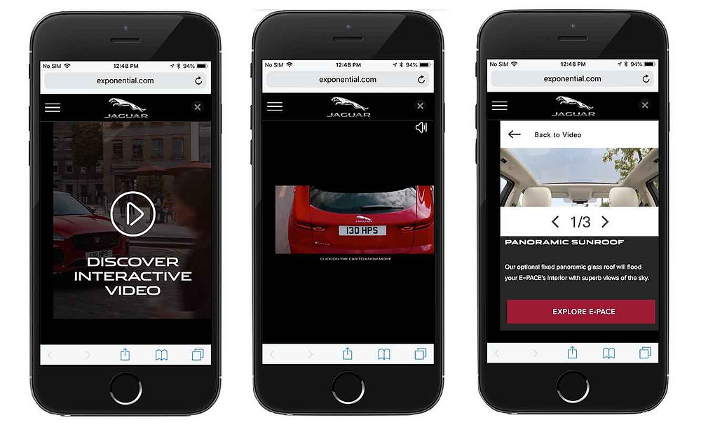 Jaguar E-Pace interactive video on mobile