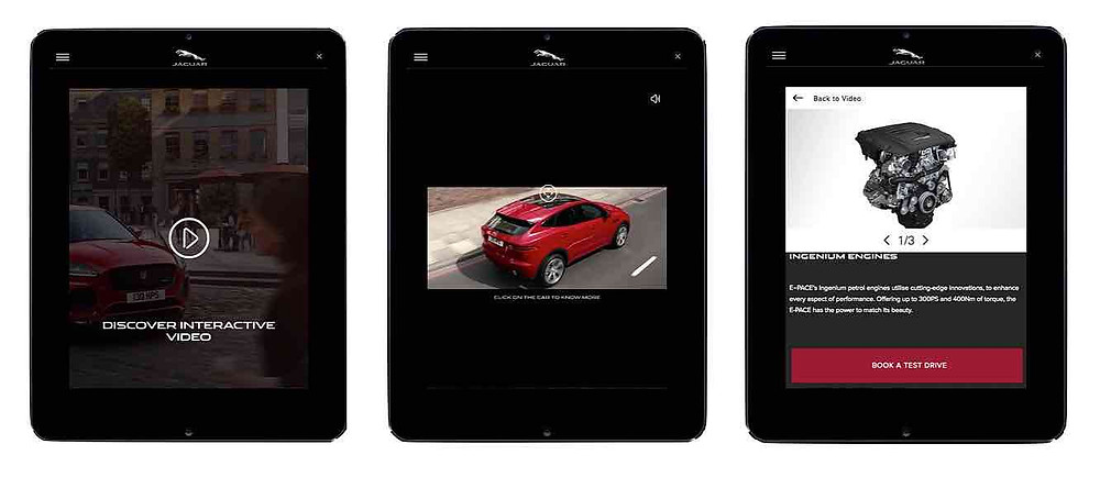 Jaguar E-Pace Clickable interactive video on tablet