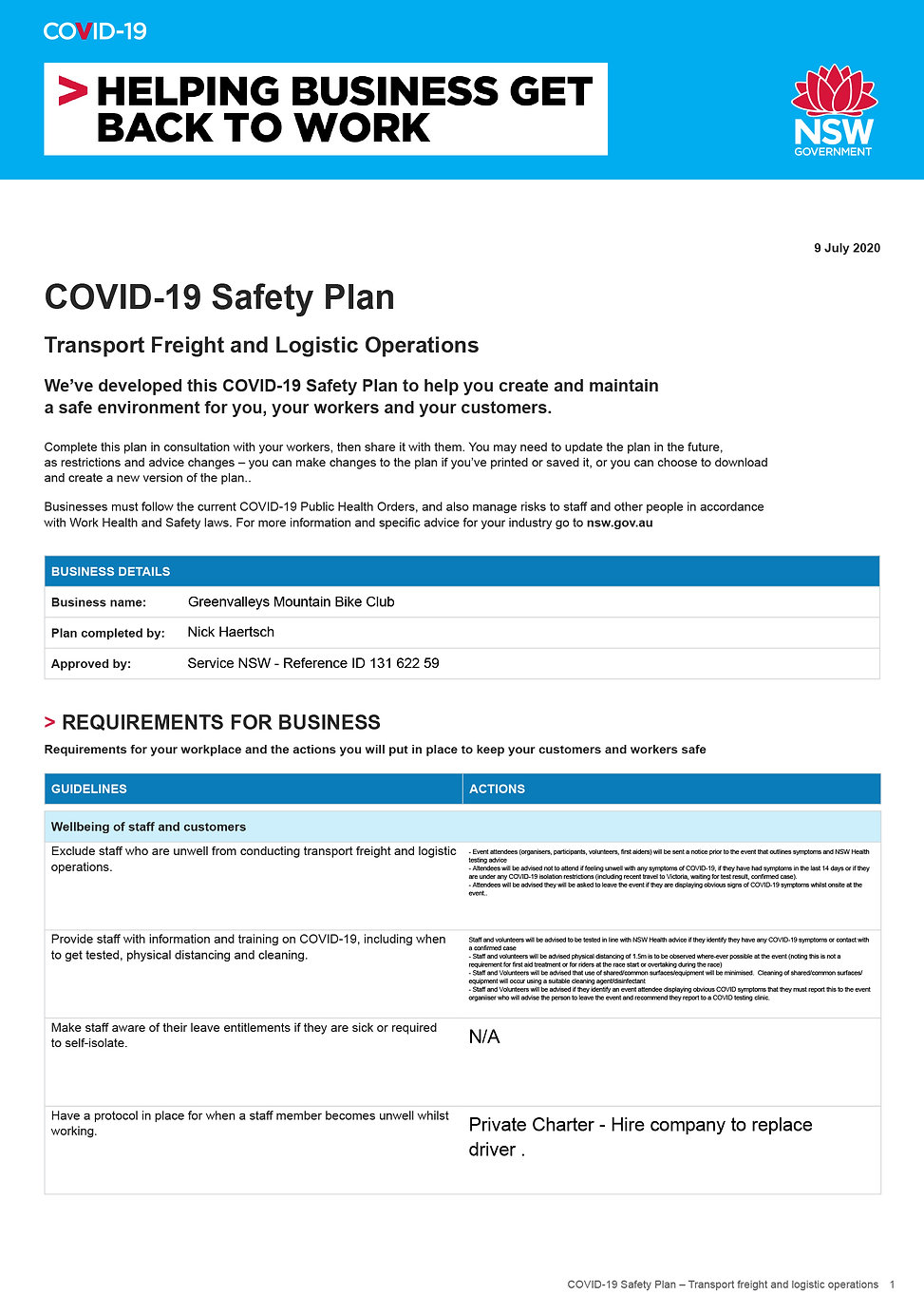 COVID-19 Safety Plan 2020_ transport and