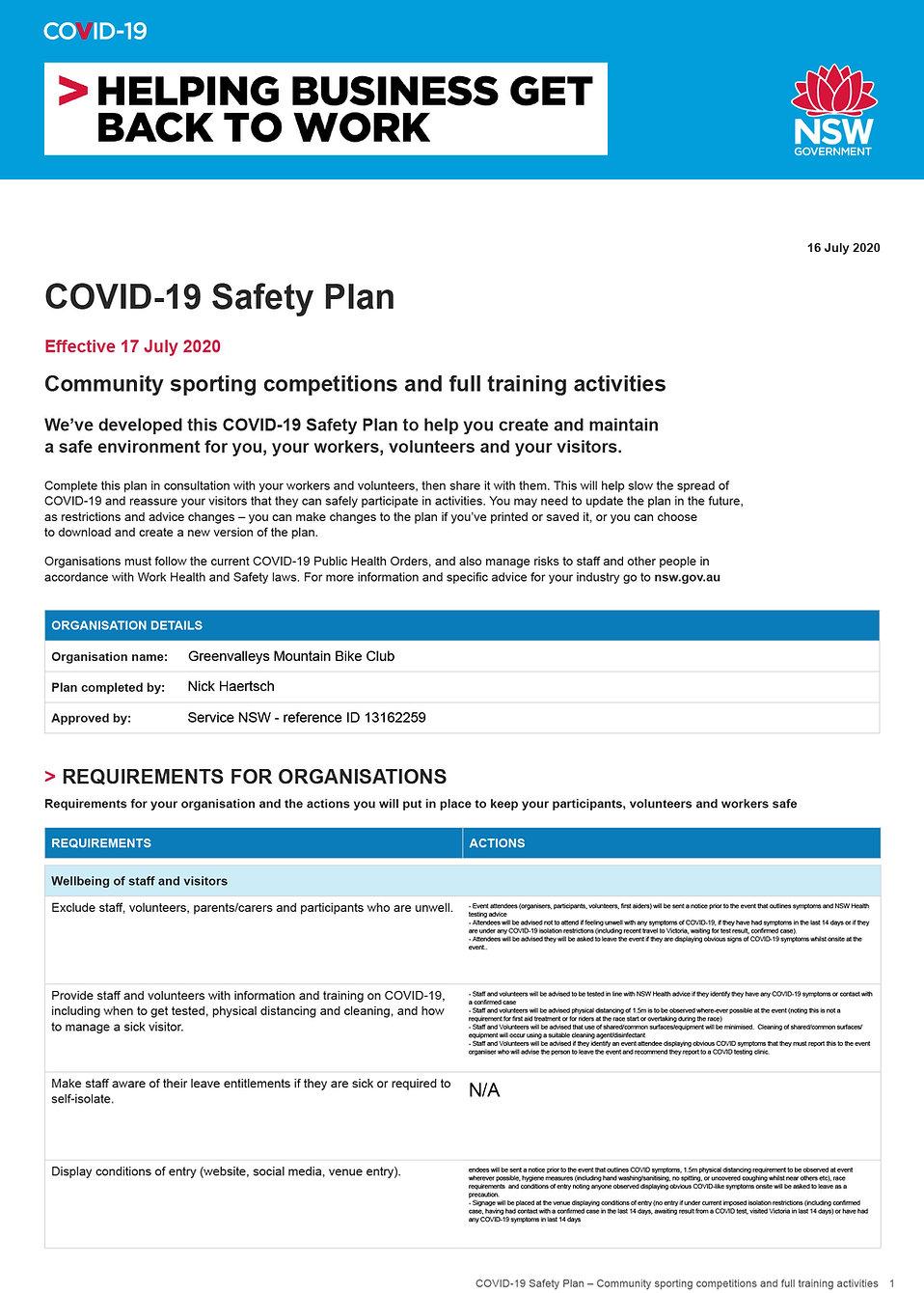 COVID-19 Safety Plan 2020 community spor