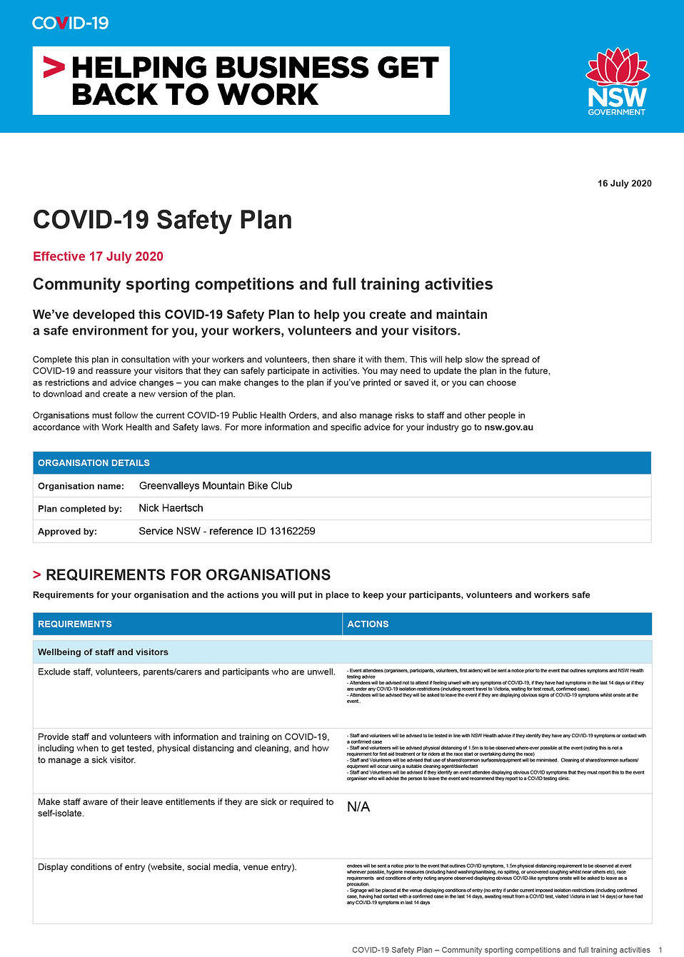 COVID-19 Safety Plan 2020 community spor